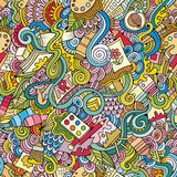 Cartoon vector art and craft seamless pattern Stock Image