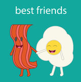 Cartoon vector of a bacon slice and a fried egg. Stock Photo