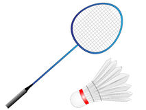Cartoon Vector Badminton Racket with Feather Stock Photography