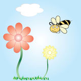 Cartoon vector of a bee and flowers. A vector cartoon of a bee flying around flowers vector illustration