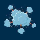 Cartoon vector bomb explosion with smoke. Cartoon style. Effect boom, explode flash, bomb comic. Blast with fire and cloud. Illustration of burst isolated Stock Photo