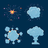 Cartoon vector bomb explosion with smoke. Cartoon style. Effect boom, explode flash, bomb comic. Blast with fire and cloud. Illustration of burst Stock Photos