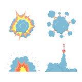 Cartoon vector bomb explosion with smoke. Royalty Free Stock Photos