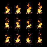 Cartoon vector bonfire flame animated sprites. Fire animation illustration, burning campfire ui Royalty Free Stock Images