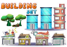 Cartoon vector building set for game and animation Royalty Free Stock Photography