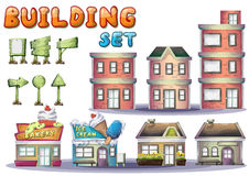 Cartoon vector building set for game and animation Stock Image