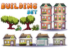 Cartoon vector building set for game and animation Stock Photography