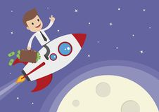 Cartoon Vector Businessman on a Rocket Royalty Free Stock Photo