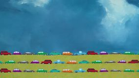 Cartoon Vector Cars Driving All Direction in Rush Hour on a Big Blue Sky Background stock video footage