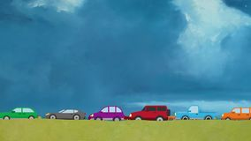 Cartoon Vector Cars Driving on Two Lanes in Rush Hour on a Big Blue Sky Background. Cartoon Vector Cars Driving on a Countryside Road stock footage