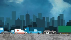 Cartoon Vector of Cars in Heavy Traffic on a City Skyline Background