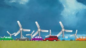 Cartoon Vector of Cars in Heavy Traffic Driving on Wind Energy Windmills Background stock video