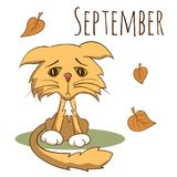 Cartoon vector cat for calendar month september Stock Photography