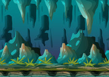 Cartoon vector cave landscape with separated layers. For game and animation, game design asset Royalty Free Stock Photography