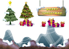 Cartoon vector christmas landscape object with separated layers for game and animation Royalty Free Stock Photos