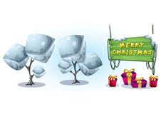 Cartoon vector christmas landscape object with separated layers for game and animation Stock Image