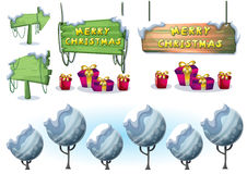 Cartoon vector christmas landscape object with separated layers for game and animation Stock Photography