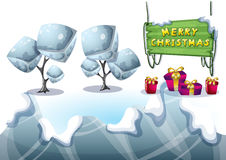 Cartoon vector christmas landscape object with separated layers for game and animation Royalty Free Stock Photo
