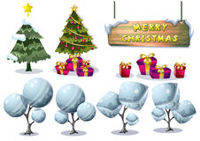 Cartoon vector christmas landscape object with separated layers for game and animation. Game design asset in 2d graphic Stock Photos