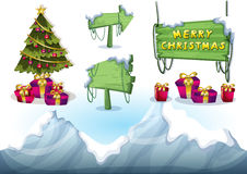 Cartoon vector christmas landscape object with separated layers for game and animation. Game design asset in 2d graphic Royalty Free Stock Image