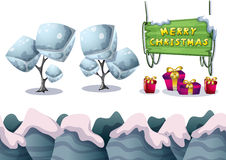 Cartoon vector christmas landscape object with separated layers for game and animation Stock Photos