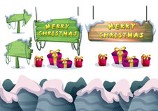 Cartoon vector christmas landscape object with separated layers for game and animation Royalty Free Stock Images