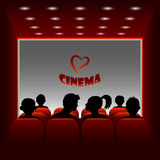 Cartoon vector cinema hall. Illustration of a boy and girl watching a movie about love. Stock Image