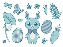Cartoon vector collection set with pastel blue bunny wearing a bowtie, spring flowers, butterfly, carrots, leaves and easter eggs royalty free illustration