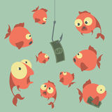 Cartoon vector concept. Fishing. Finances. Business risks. Banks Stock Image