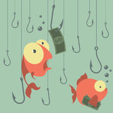 Cartoon vector concept. Fishing. Finances. Business risks. Banks Royalty Free Stock Photos