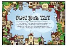 Cartoon vector construction town. Fairy tale postcard with cartoon vector construction town Stock Photos