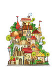 Cartoon vector construction town. Illustration of fantasy vector fairy-tale drawing town Stock Photography
