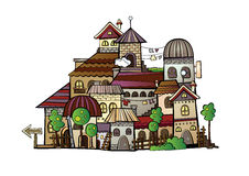Cartoon vector construction town. Illustration of fantasy vector fairy-tale drawing town Royalty Free Stock Photography