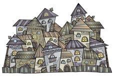 Cartoon vector construction town Stock Photos