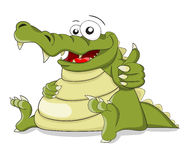 Cartoon vector crocodile with fingers combination. Good isolated on white Royalty Free Stock Images
