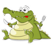 Cartoon vector crocodile with knife and fork Royalty Free Stock Photo