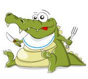 Cartoon vector crocodile with knife and fork Royalty Free Stock Photos
