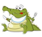 Cartoon vector crocodile with knife and fork Royalty Free Stock Photos