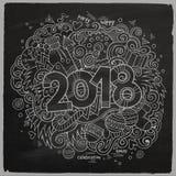 Cartoon vector cute doodles hand drawn 2018 year illustration Stock Image