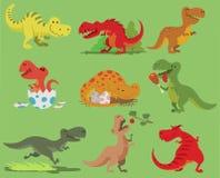 Cartoon vector dinosaur tyrannosaurus rex character dino and jurassic tyrannosaur attacking illustration set of ancient Royalty Free Stock Photography