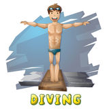 Cartoon vector diving sport with separated layers for game and animation Royalty Free Stock Photography