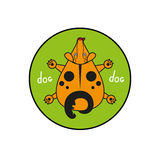 Cartoon vector dog. puppy top view. Inscribed in a circle as an emblem green background Stock Photos