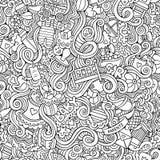 Cartoon vector doodle children seamless pattern Stock Photo