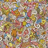 Cartoon vector doodle children seamless pattern Stock Photos