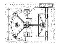 Cartoon Vector Drawing of Closed Vault Door. Cartoon vector doodle drawing illustration of closed vault door. Business concept of security, secret and treasure Stock Photography
