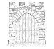 Cartoon Vector of Stone Medieval Decision Gate Closed by Wooden Door. Cartoon vector doodle drawing illustration of medieval stone decision gate closed by wooden Royalty Free Stock Photography