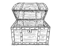 Cartoon Vector Drawing of Old Empty Open Pirate Chest. Cartoon vector doodle drawing illustration of old wooden empty open pirate treasure chest or trunk Stock Photos