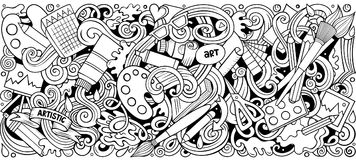 Cartoon vector doodles Art and Design horizontal stripe illustration. Line art detailed, with lots of objects illustration. All items are separate stock illustration
