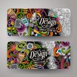 Cartoon vector doodles artistic banners Stock Image
