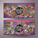 Cartoon vector doodles baby boom banners Royalty Free Stock Photography